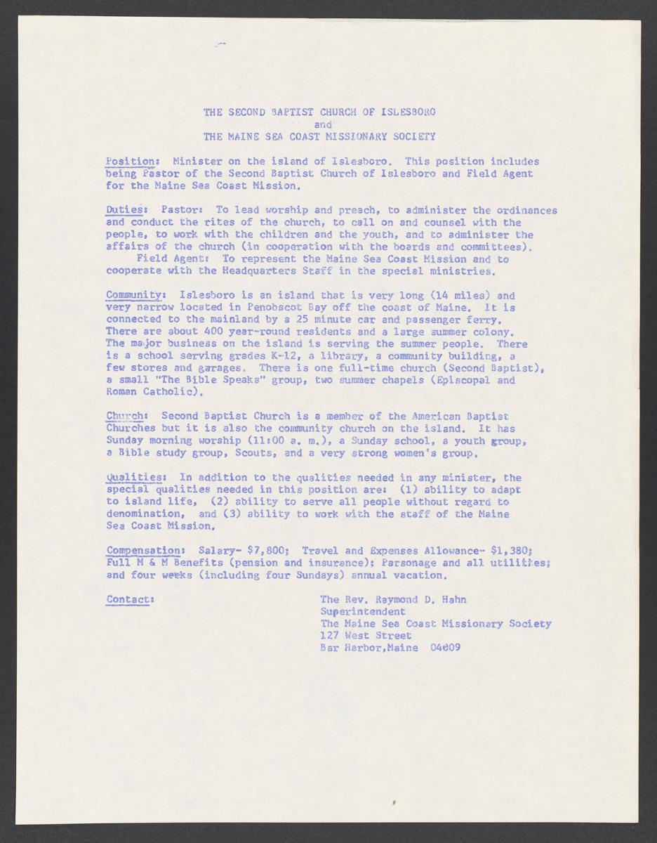 The Second Baptist Church of Islesboro and The Maine Coast Missionary Society Position Announcement, c. 1950-1979