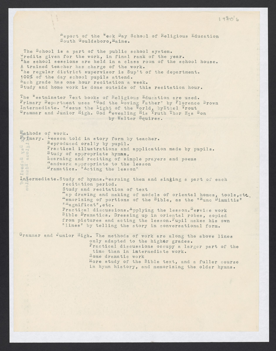 Report of the Week Day School of Religious Education, South Gouldsboro, Maine, c. 1922-1925