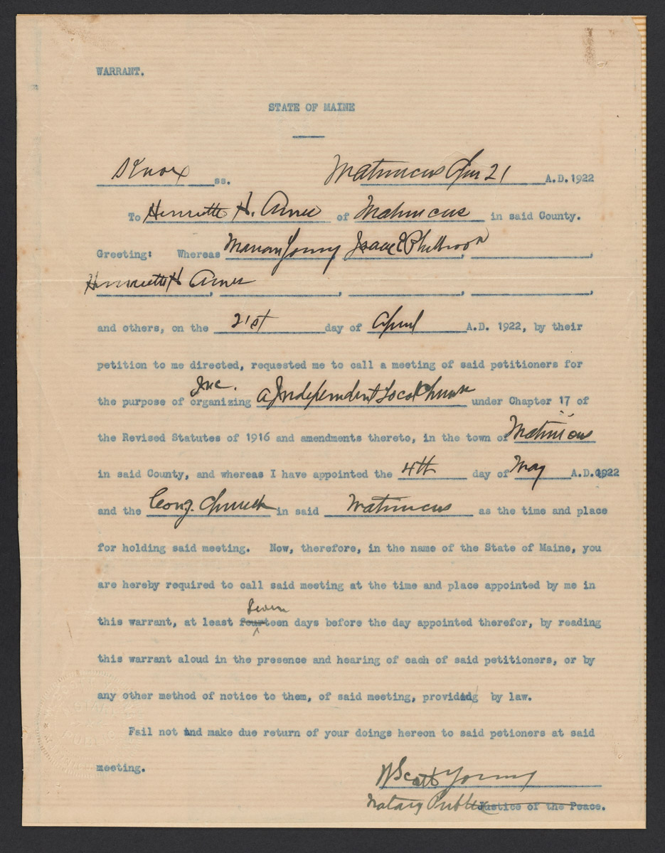 Maine Warrant for Independent Local Church, April 21, 1922