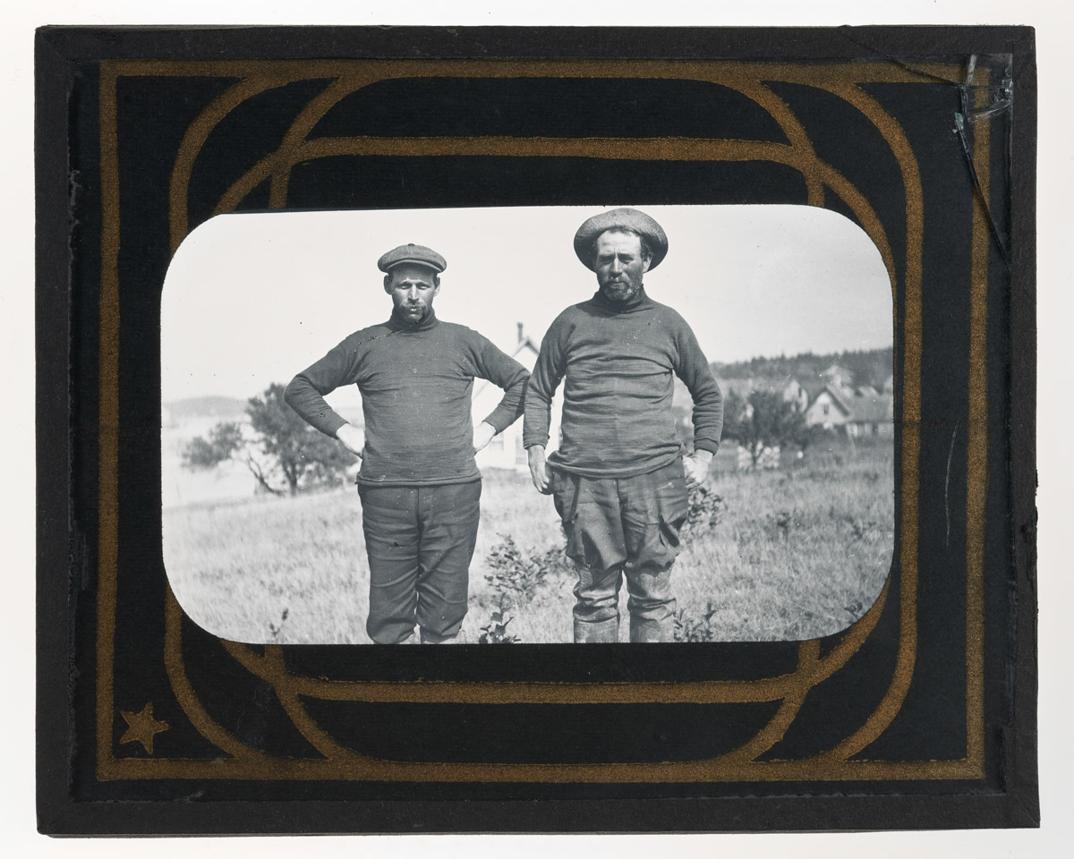 """John Lunt and Alec Davis Glass Plate Negative, 1920,"" Maine Seacoast Mission"
