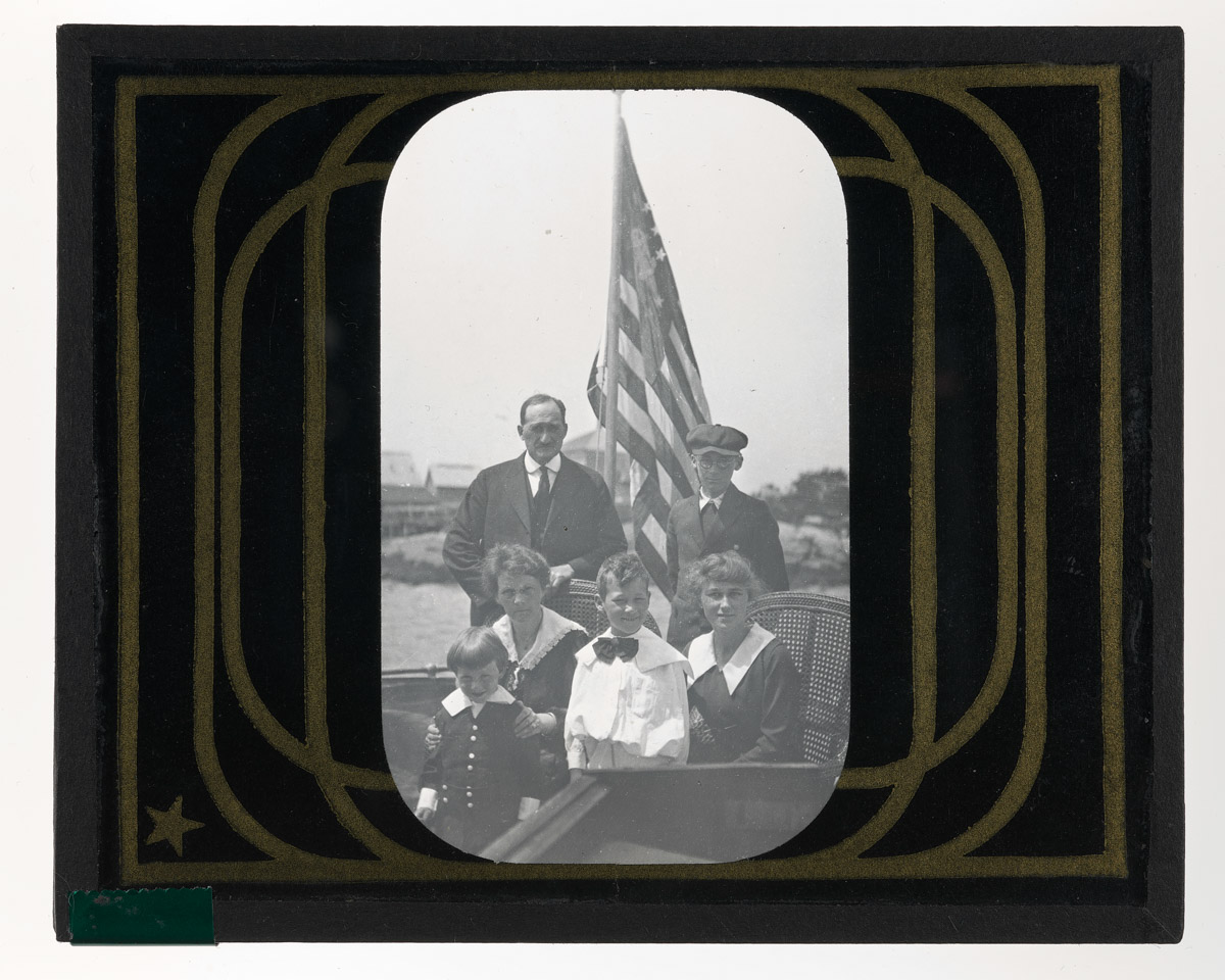 Angus MacDonald and Family on Boat Glass Plate Negative, 1920