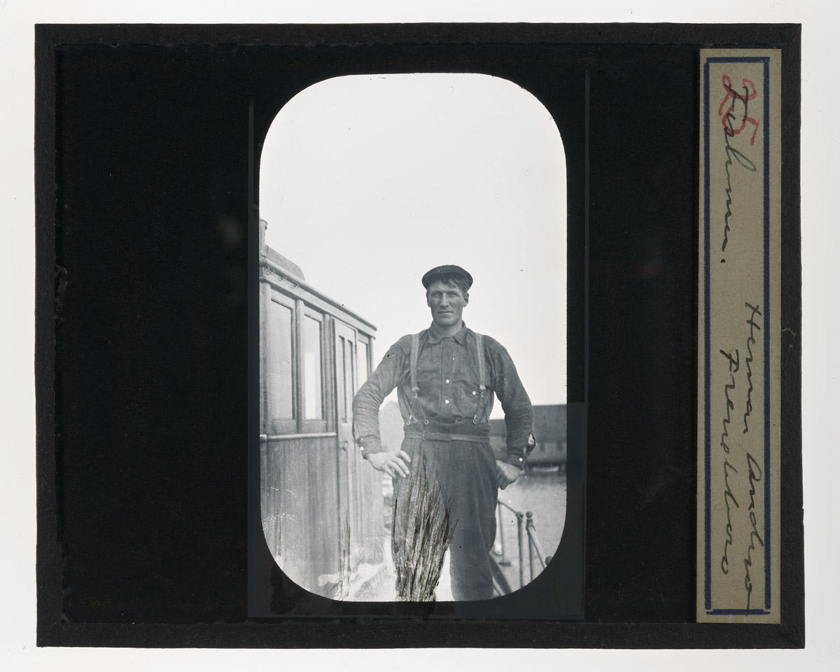 Herman Andrew on Boat Glass Plate Negative, 1920