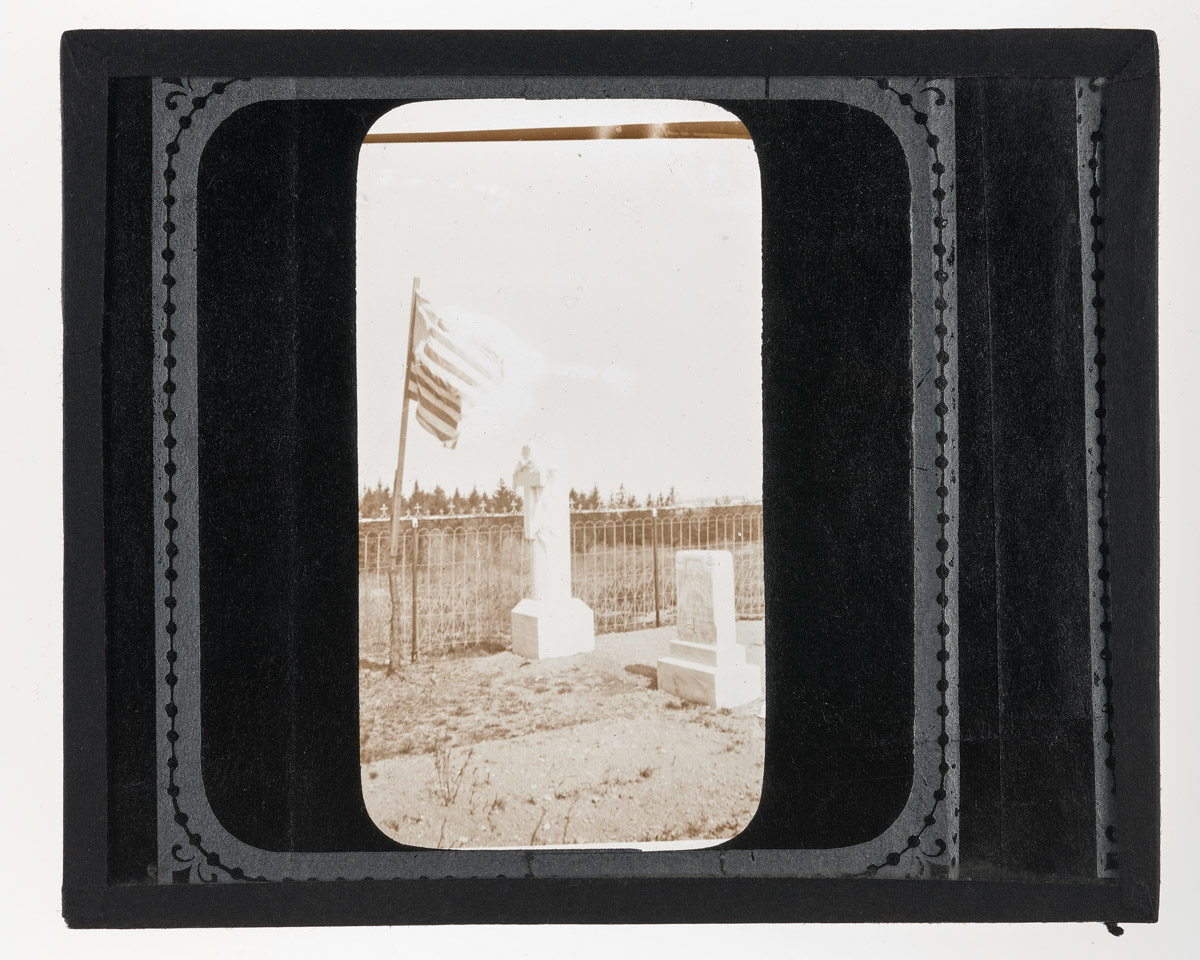 Frank Thurlow and Frank Rich Tombstones with Flag Glass Plate Negative, 1920
