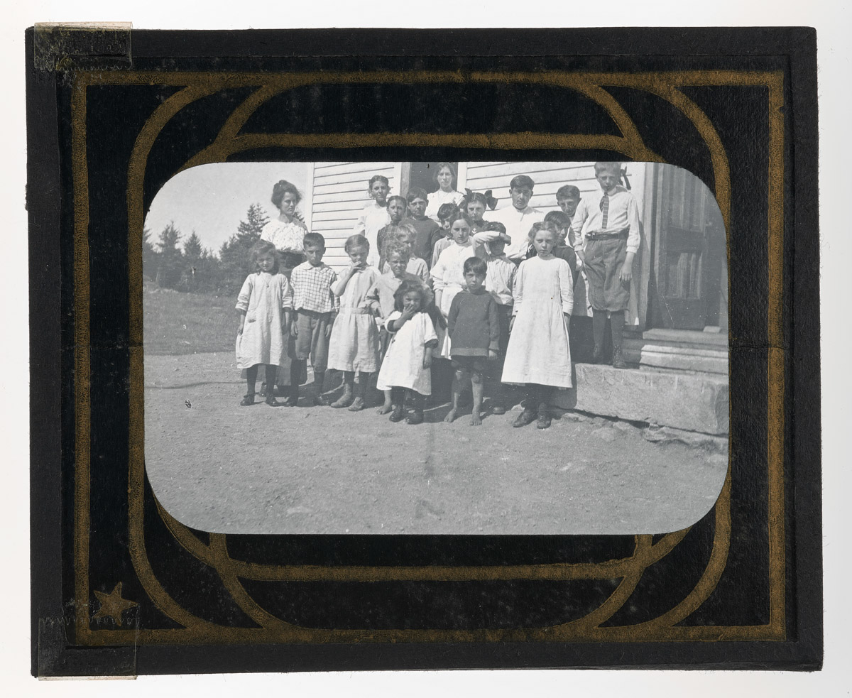 Children and Adults at Muscongus School Glass Plate Negative, 1913