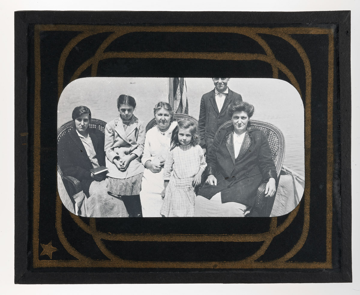 Mrs. Damon and Family on Boat Glass Plate Negative 1, 1915