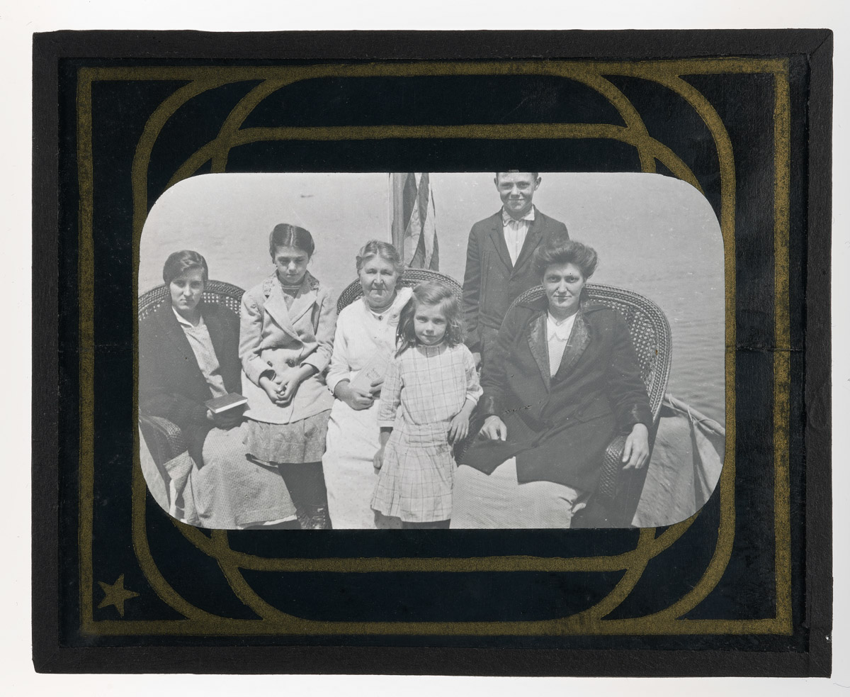 Mrs. Damon and Family on Boat Glass Plate Negative 2, 1915