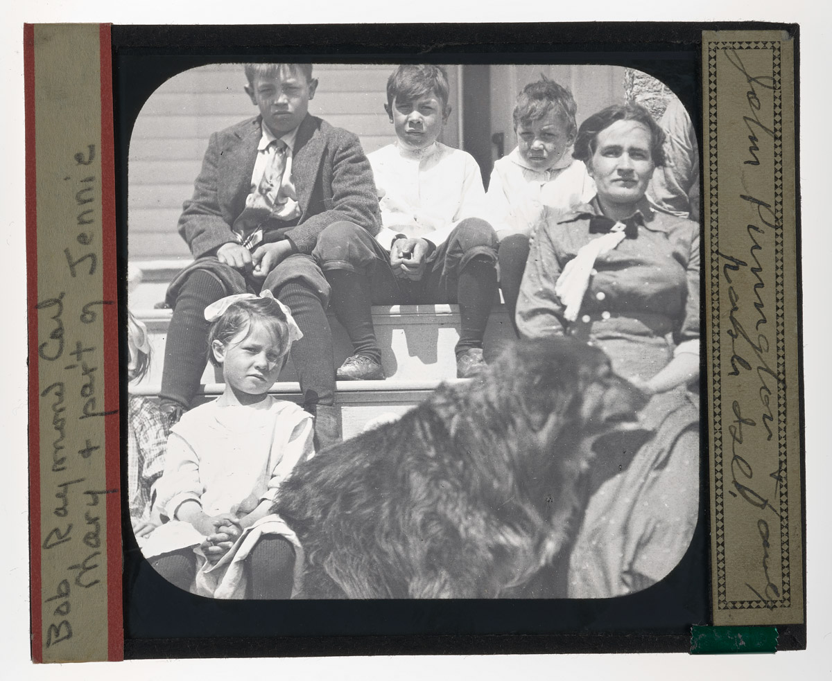 John Punnglov Family and Dog Glass Plate Negative, 1920s