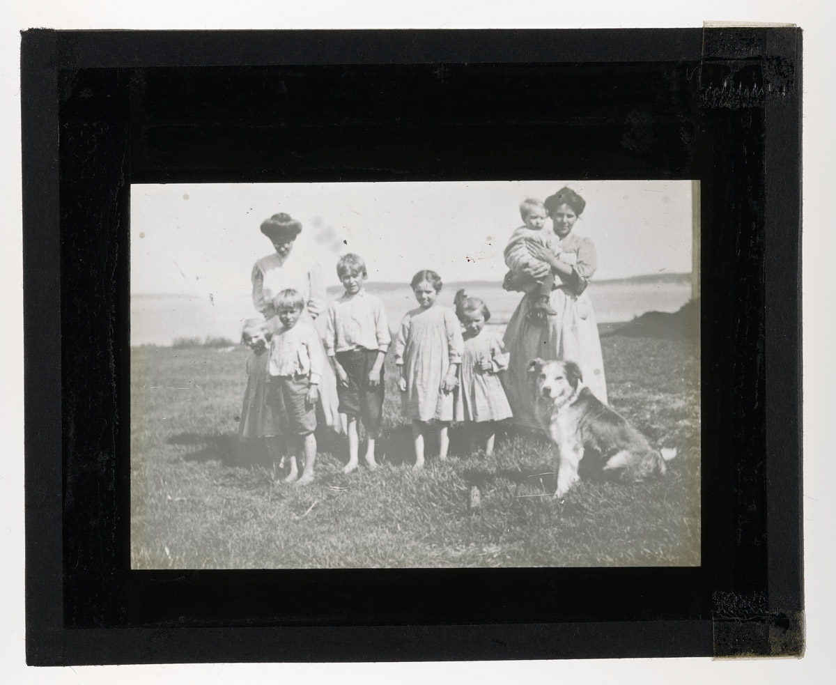Family of Franklin Island Lighthouse Keeper Glass Plate Negative, 1920