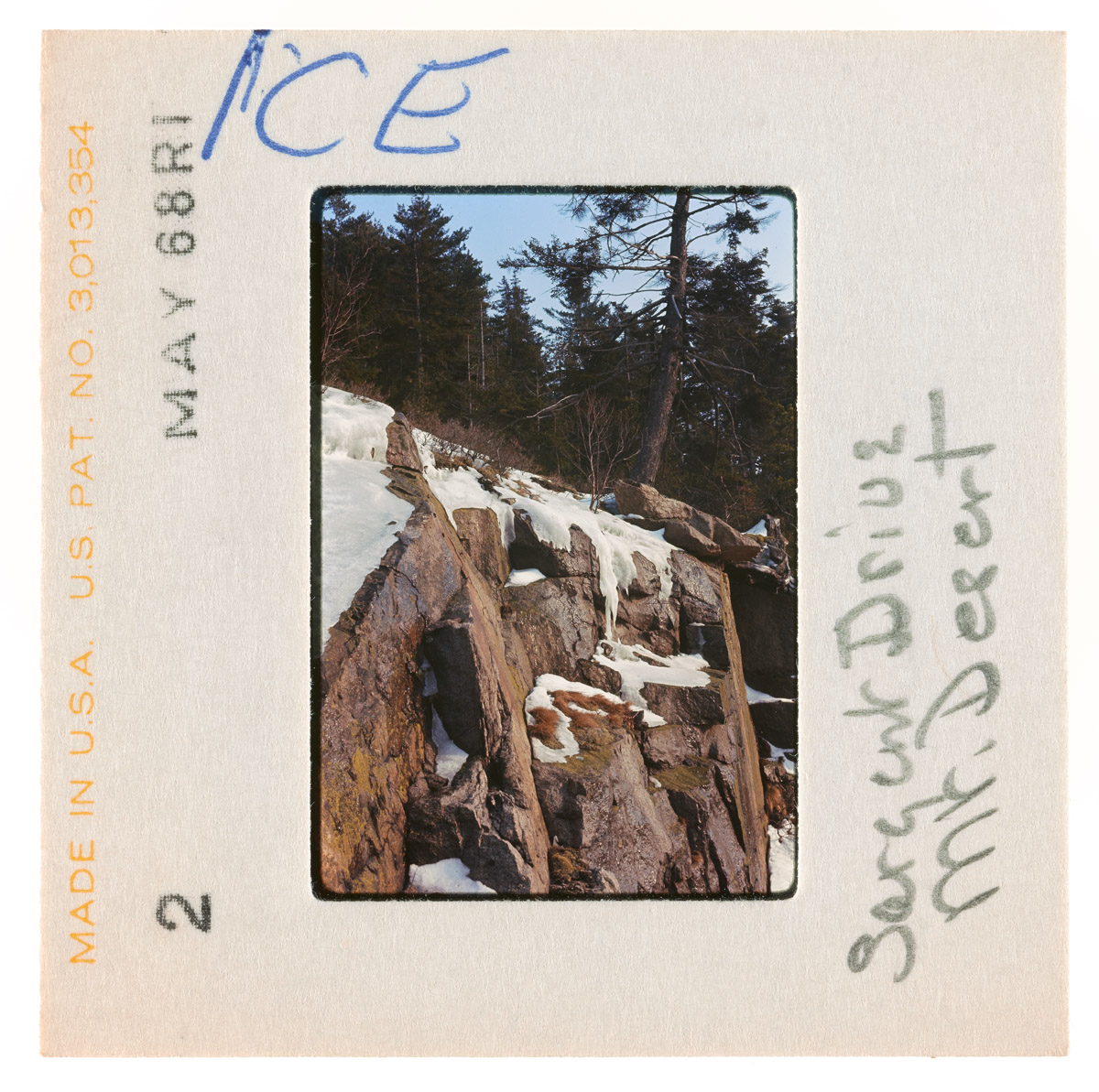 Ice Along Sargent Drive Slide, May 1968