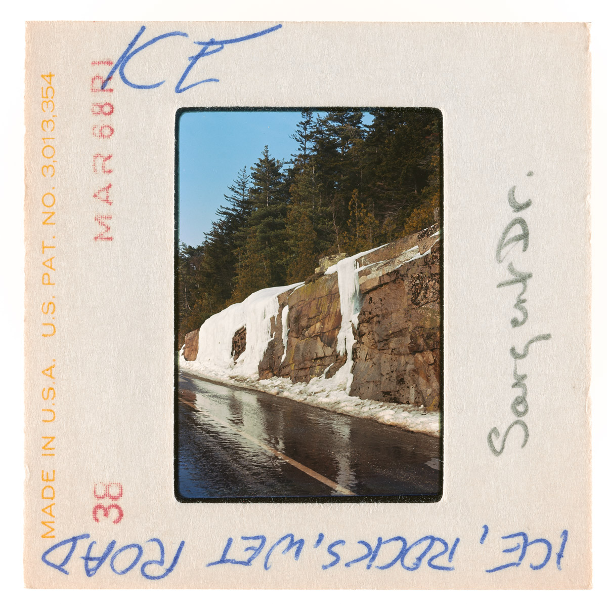 Ice and Wet Sargent Drive Slide, May 1968