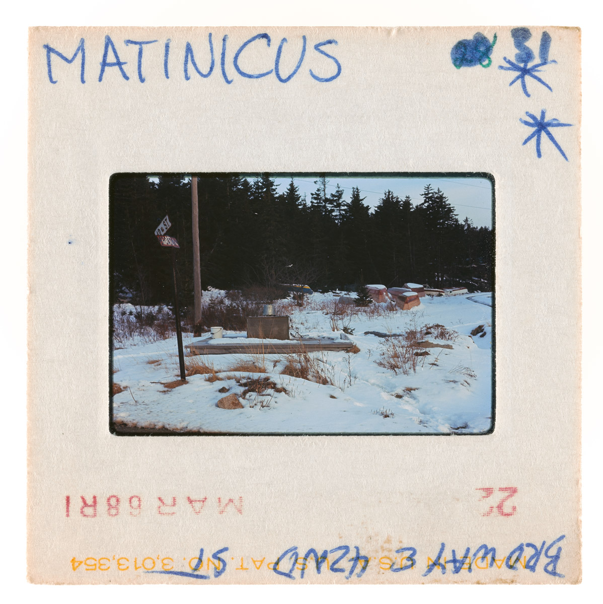 Snow Covered Broadway & 12th Street Corner on Matinicus Island Slide, March, 1968