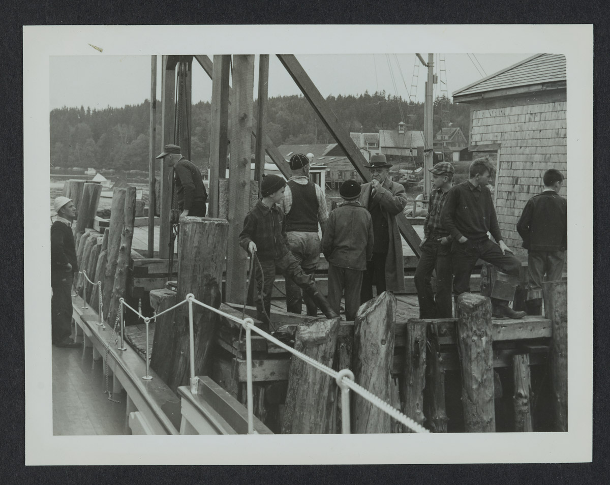 Men and Boys at Swans Wharf Photograph, 1940s