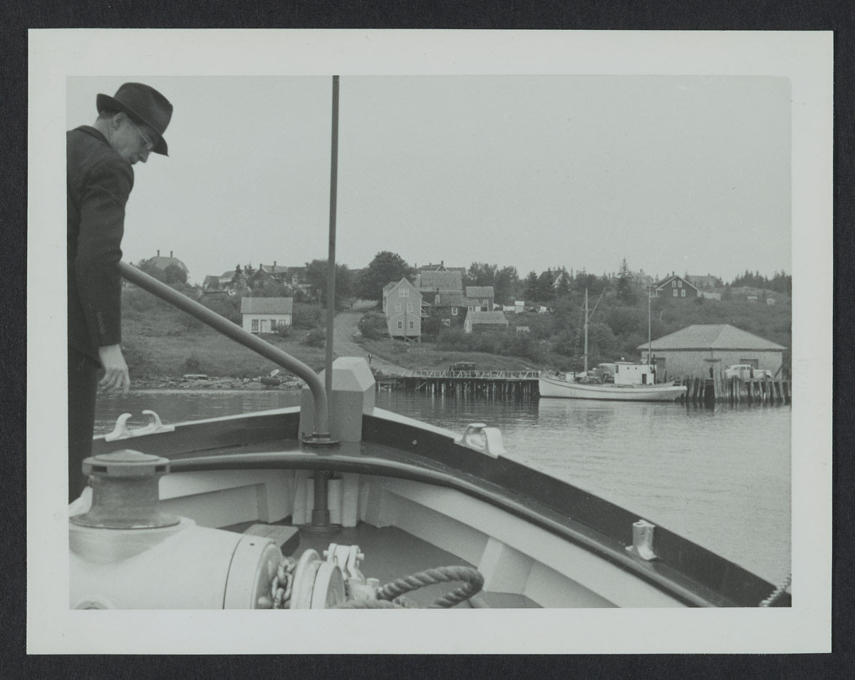 Boat Entering Swans Island Photograph, 1940s