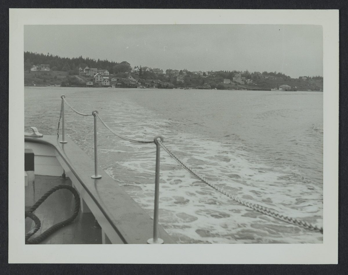 Boat Leaving Swans Island Photograph, 1940s