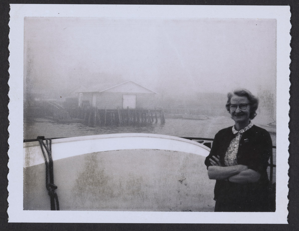 Pat Lowery on Boat at Swans Island Photograph, July 5, 1968