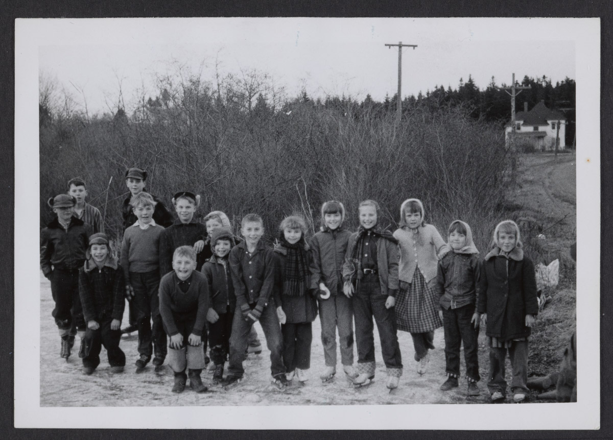 Children from Swans Island Wearing Ice Skates Photograph 2