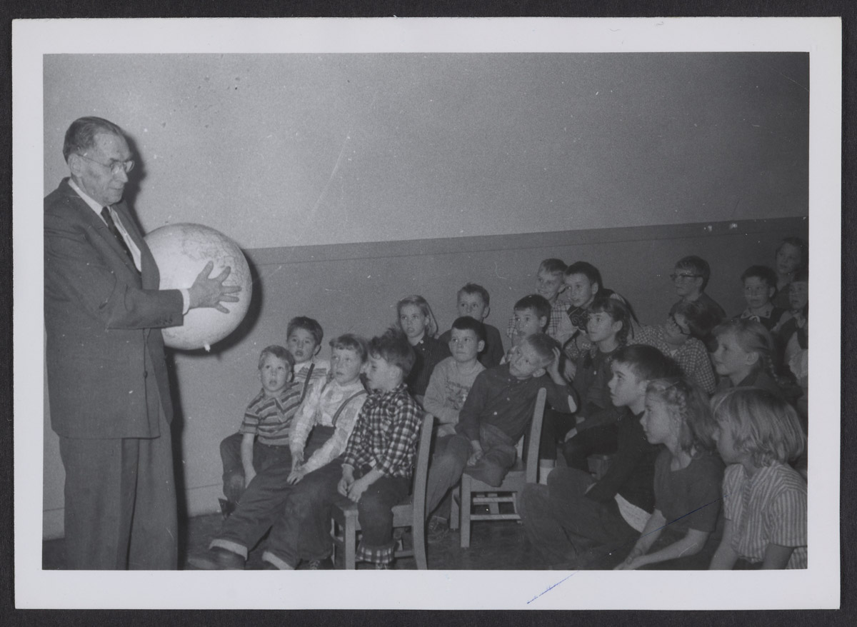 Dr. Freese Speaks to Bible Club Photograph, 1959