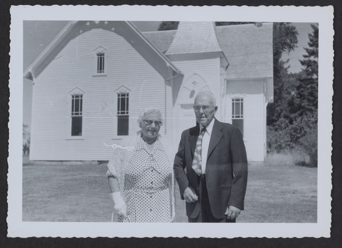 Clevie & Erdine Trask at Swans Island Methodist Church Photograph