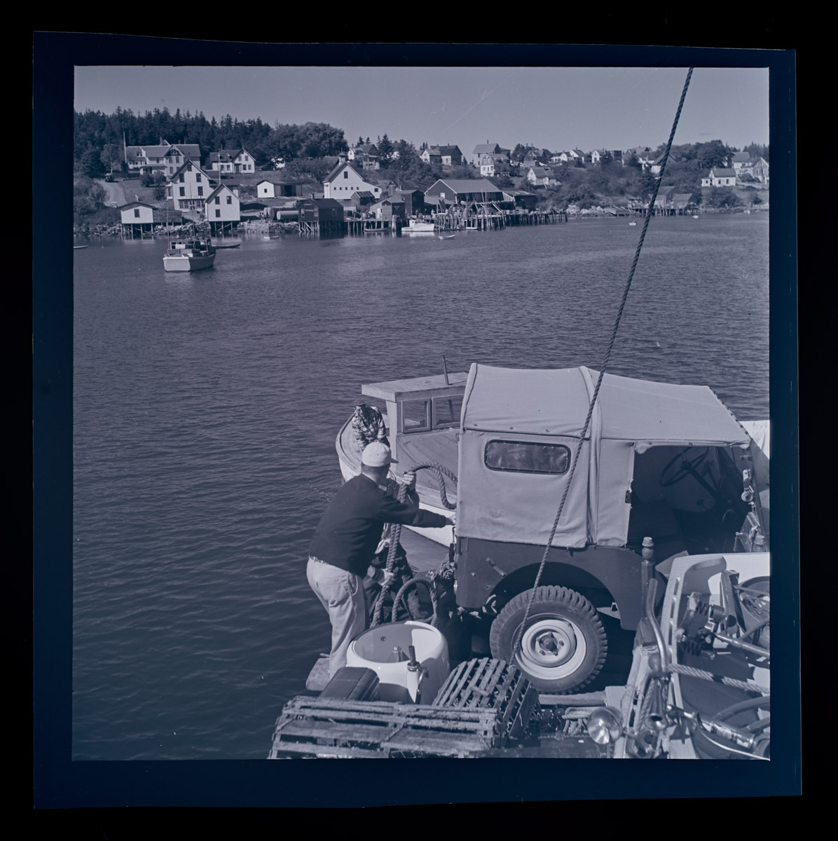 Man and Jeep Aboard the Sunbeam II Negative, 1960s