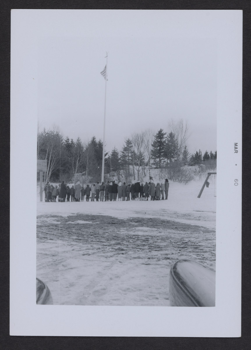 Saluting the Flag at Swans Island School Photograph, March 1960