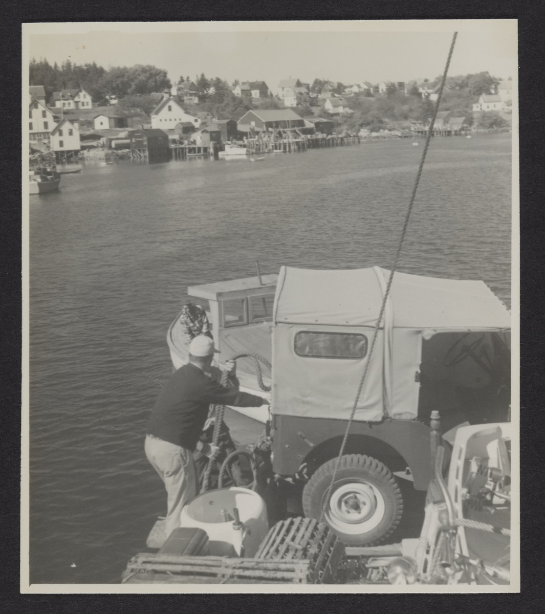 Man and Jeep Aboard the Sunbeam II Photograph, 1960s