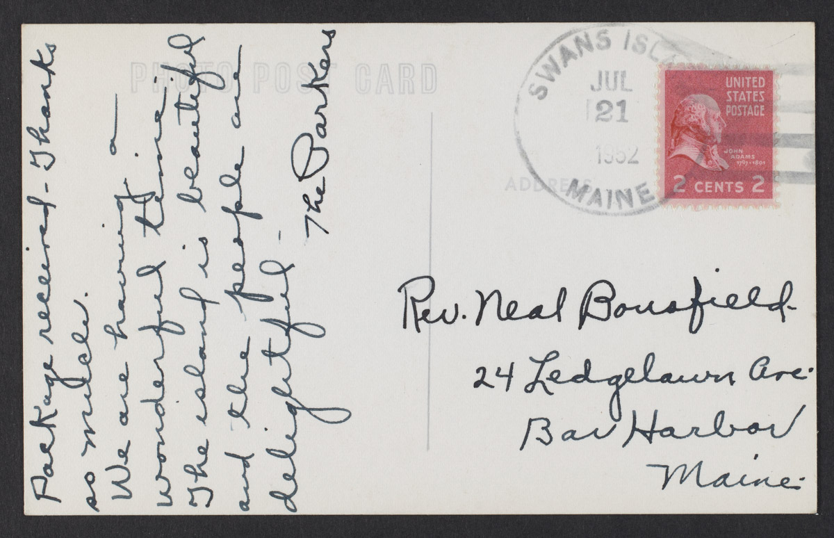 The Parkers to Rev. Neal Bousfield Postcard, July 21, 1952